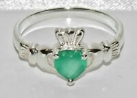 Sterling Silver Green Agate CLADDAGH Ring - All Sizes - Solid 925 Silver