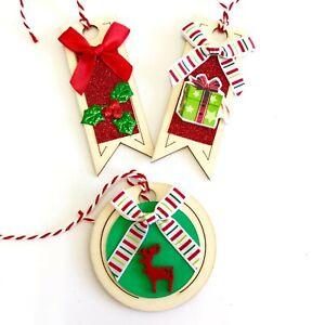 8 Random Mixed Wooden Christmas Gift Tags Craft