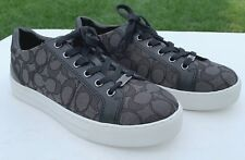 Coach Paddy Signature Sneakers Shoes 8.5 Smoke Coal & Black Jacquard/Leather NEW