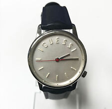 Guess 30mm Original Genuine Rubber/Plastic Black Band Silver Dial Watch