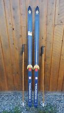 """Vintage Wooden Skis 71"""" Long with BLUE and WHITE Finish + Bamboo Poles"""