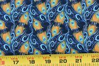 "32"" Long, Gold Blue Green Silver Peacock-Plume Navy Cotton/Springs/Palmer, P3258"