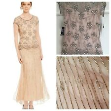 NEW PISARRO Nights Women vintage look Beaded Long Evening Gown champagne 4 Dress
