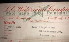 Waterman Fountain Pen Letterhead  1918 New York Red Credit Billhead