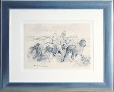 Otto Dill 1884-1957: Pferde Reiter Ausritt über Land, lavierte Tuschezeichnung