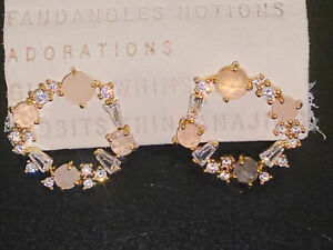 ANTHROPOLOGIE SMALL RHINESTONES SPARKLE CIRCLE POST EARRINGS ~BEAUTIFUL~NEW