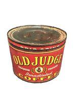 Vintage 1950s Old Judge OWL GRAPHIC KEYWIND COFFEE TIN 1 POUND St Louis Missouri