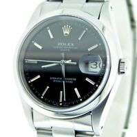 Mens Rolex Date Stainless Steel Watch Oyster Band Domed Bezel Black Dial 15200