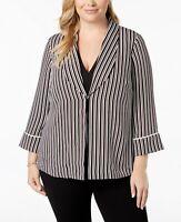 Alfani Women's B/W Striped Work Wear Open-Front Blazer Jacket Size Plus 3X $99