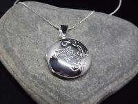 """Sterling Silver 925 Round Butterfly Locket Pendant 18"""" Necklace Gift Box UK"""