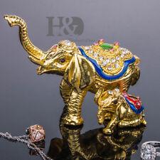 Gold Baby Elephant Jewelry Box Wedding Decor Ring Trinket Box Display Lady Gifts