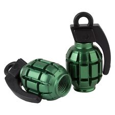 Black Ops Grenade BMX Schrader Valve Caps, Green
