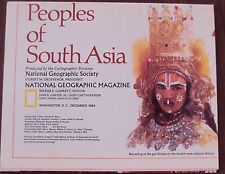 National Geographic December 1984 Map Peoples of South Asia India Pakistan Nepal