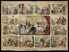 Rare 1853ca - La femme (Mode) - Planche encyclopédique, scolaire, affiche