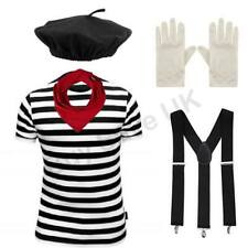 LADIES WOMENS FRENCH MIME ARTIST ARTISTE FANCY DRESS COSTUME HALLOWEEN