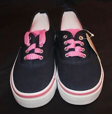 Girls Navy Blue and Pink Faded Glory Casual Shoes Size 1