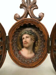 Stunning Miniature Gothic Travel Tryptich with painted Christ on porcelain