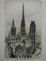 Gravure Rouen La Cathédrale eau-forte Charles PINET XIXème siècle