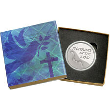 SilverTowne Footprints In The Sand 1oz .999 Fine Round in Religious Gift Box