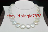 "Natural 12-13mm White South Sea Baroque Coin Pearl Necklace 20"" AAA++"