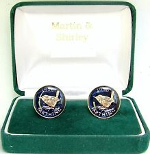 1956 Farthing cufflinks from real coins in Blue & Gold