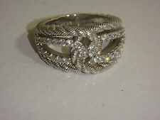 JUDITH RIPKA STERLING & DIAMONIQUE WRAP RING NEW SIZE 6