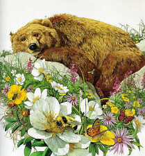 "**Bev Doolittle ""BUGGED BEAR"" WSS Print-Camoflauge-Grizzly-Bee's-Bugs-Art**MINT"