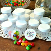 24 Plastic 1oz Jars Craft Container Makeup White Lids Caps 2 Tbl  #4304 DecoJars