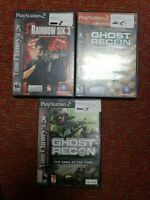 Tom Clancy's Rainbow Six 3 ghost recon 1 and 2. 3 PS2 game lot
