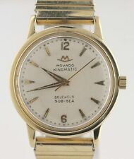 Vintage Men's Movado Kingmatic Sub-Sea 28 Jewels 14K Yellow Gold Watch 40531