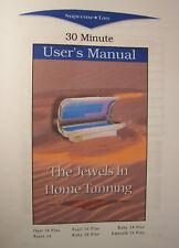 Supreme Tan Tanning Bed User Manual Opal Pearl Ruby Emerald Printed Manual