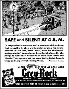 1939 Dairy milkman delivery Grey-Rock Brake Linings vintage art print ad L48