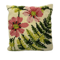 Vintage Pink Daisy with Green Foliage Leaves Needlepoint Pillow