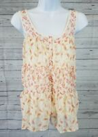 Lauren Conrad Womens Tank Top Sz Small Button Front Ivory Pink Floral