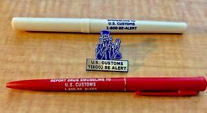 U S Customs Vintage Plastic Lapel Pin and Souvenir Pens- Public Relations
