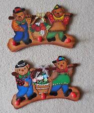 Two, Novelty, Vtg.Teddy Bears, Wood Coat Racks, Childrens Wall Hanging w 3 Pegs