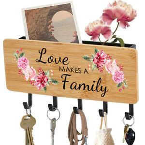 Love Makes A Family Design Key Holder Mail Rack Wall Mount Hooks  Organizer
