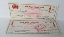 Two 1950's Drink Royal Crown, Cancelled Checks, Jasper, Alabama. 1st National