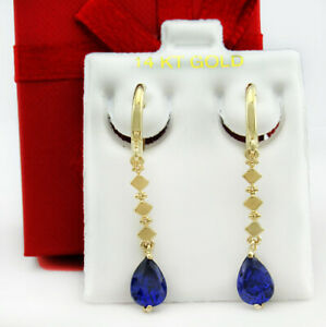 AAA TANZANITE 1.84 Cts DANGLING EARRINGS 14K YELLOW GOLD * New With Tag *