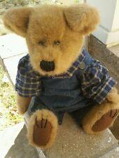 """Boyd's Guthrie Mussy 14"""" boy bear complete w/denim overalls stuffed animal Xmas"""