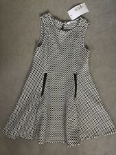 M&S BLACK & WHITE SKATER DRESS WITH TEXTURED FABRIC & 2 BLACK ZIPS - 5-6y- BNWT