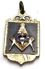 Masonic Watch Fob Pendant Freemason BLACK enamel GF GOLD FILLED VINTAGE ANTIQUE