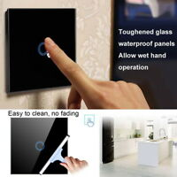1 2 3 Gang UK/ Standard Crystal Glass Panel Light Touch Screen Wall Switch LED