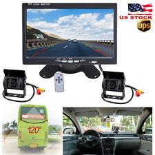 "2X Back up Camera RV Truck Bus Van IR Rear View Night Vision System+7"" Monitor"