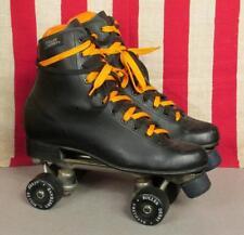Vintage Roller Derby Mens Black Roller Skates Black Urethane Wheels Sz.10 Nice!