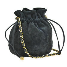 Auth CHANEL Quilted CC Drawstrings Chain Shoulder Bag Navy Suede Vintage A25719