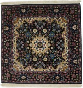 Black New Handmade Kirman Square 3X3 Oriental Rug Floral Classic Decor Carpet