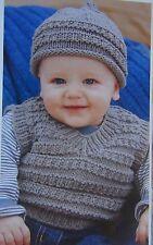Ragazzi Pullover Senza Maniche/Pullover ~ Cappello/Berretto ~ Lavoro a Maglia Motivo ~ Taglia 0 mesi - 6 anni (R50)