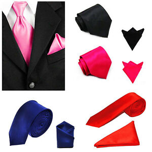 MENs Solid Necktie and Pocket Square Hankie Set Formal Wedding Prom Party Tie UK