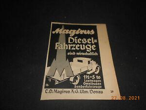 original Werbung Reklame Annonce Magirus Diesel LKW 30er Jahre Ulm